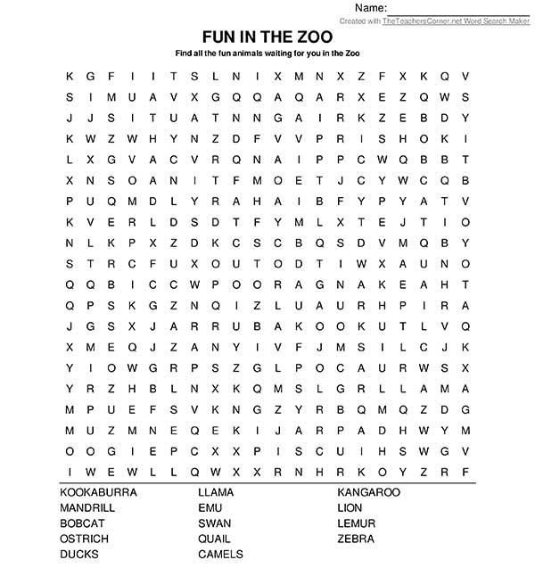 Word find - Fun in the Zoo